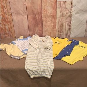 Carter's onesie baby sleeping gown blue yellow lot